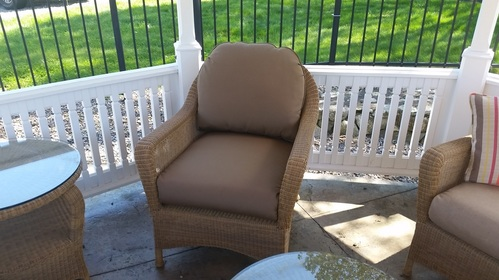 Reupholstered outdoor furniture using Sunbrella fabrics